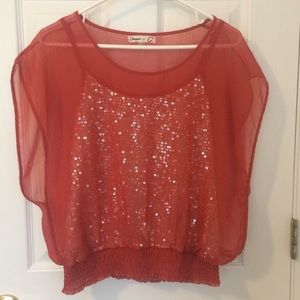 Anthro Umgee Orange Sheer Top with Sparkle Tank M